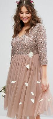 Sleeve  Neck Midi Dress With Delicate Sequin And Tulle Skirt