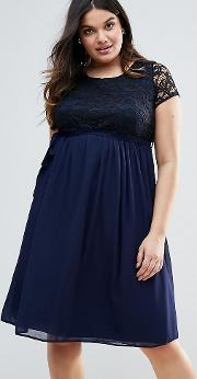 Plus Dress With Lace Top