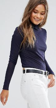 Smock Neck Shear Sweater Top