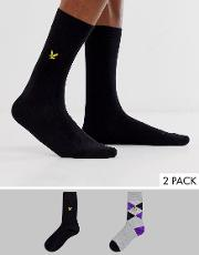 2 Pack Argyle And Solid Socks