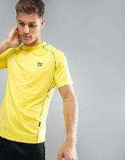 Jones Training  Shirt  Yellow With Contrast Piping
