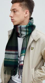 lambswool checked scarf in