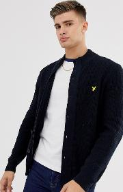 Wool Mix Funnel Neck Heavy Weight Cardigan