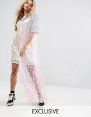 cami dress in sequin with sparkle mesh layer