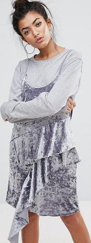 cami dress with frills in crushed velvet