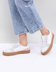 colourblock leather trainers