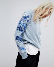 Crew Neck Sweater With Dragon Embroidery
