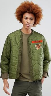 tiger patch quilted bomber jacket
