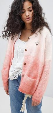 chunky cardigan with gradient effect