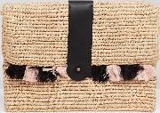exclusive wicker clutch with tassles