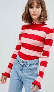 Fitted Rib Knit Stripe Jumper With Ruffle Hems