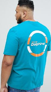 longline miami dolphins t shirt with back print  teal