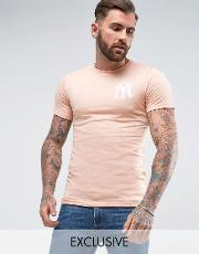 longline yankees t shirt  muscle fit exclusive to asos
