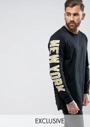 yankees long sleeve t shirt with  print exclusive to asos