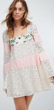 embroidered lace grove dress