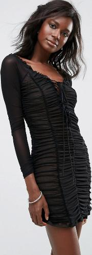 Jardin Ruched Lace Up Dress
