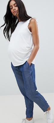 mamalicious chambray relaxed trouser