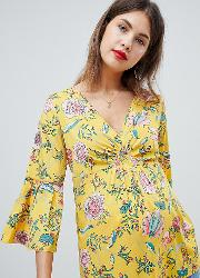 mamalicious floral fluted sleeve blouse