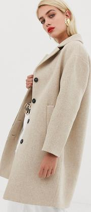 Button Front Mid Length Coat