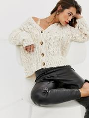 Button Front Oversized Cable Knit Cardigan