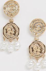 Coin And Faux Pearl Drop Earrings