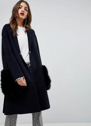 Faux Fur Pocket Over Coat