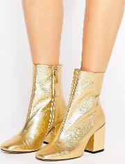 gold leather ankle boot