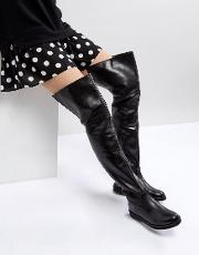 Leather Flat Knee High Boot