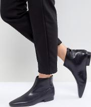 leather flat pointed toe ankle boot