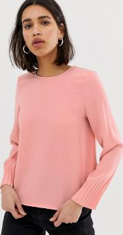 Long Sleeved Blouse With Pleated Cuff