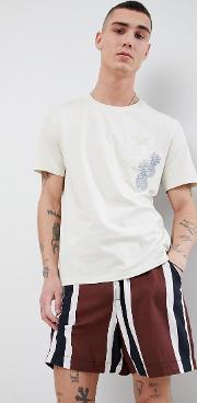 man embroidered t shirt in white