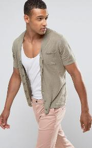 man knitted polo with revere collar in khaki