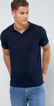man knitted polo with revere collar in navy
