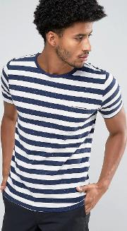 man striped  shirt in navy and white