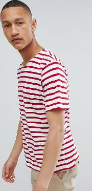 man striped  shirt in red