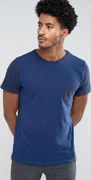man t shirt with contrast sleeves in navy