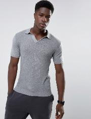 Muscle Fit Knitted Polo With Revere Collar In Grey