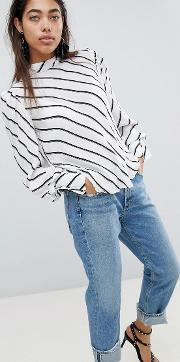 pussy bow stripe blouse