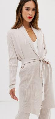 Ribbed Longline Cardigan Co Ord With Tie Waist Beige