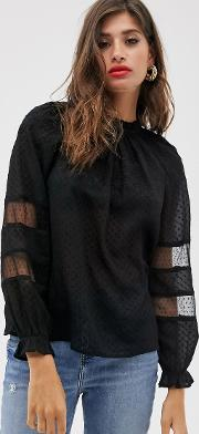 Sheer Dobby Embroidered Blouse