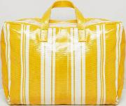 stripe plastic holdall in yellow multi