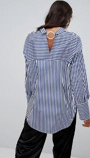 Stripe Shirt With Ring Back Detail