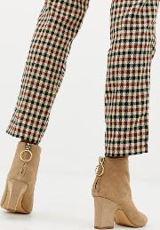 suede block heel boot with ring pull