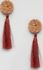wicker disc tassel earring  rust
