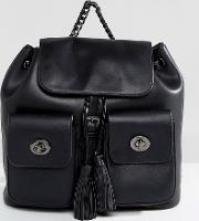 double pocket backpack with tassel detail in black