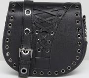 Saddle Bag With Corset Detail In Black