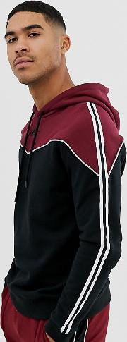 Muscle Hoodie With Chevron Panel And Side Stripe