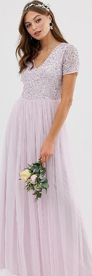 Bridesmaid V Neck Maxi Tulle Dress With Tonal Delicate Sequin Soft Lilac