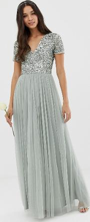 Bridesmaid V Neck Maxi Tulle Dress With Tonal Delicate Sequins Lily