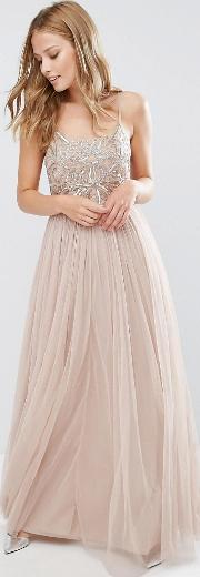 cami strap maxi dress with tulle skirt and embellishment